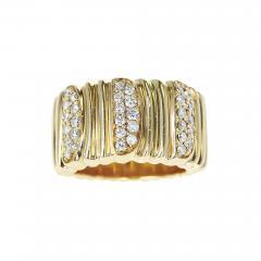 Cartier CARTIER TEXTURED 18 KARAT YELLOW GOLD AND DIAMOND BAND RING - 1994157