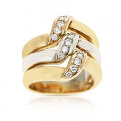 Cartier CARTIER TRI COLOR ELEVATED RING WITH DIAMONDS 18K ROSE WHITE YELLOW GOLD - 2086691