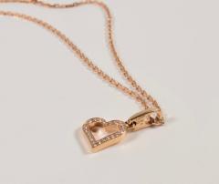 Cartier Cartier 18 Karat Pink Gold and Diamond Heart Pendant and Necklace 0 25 Carat - 964176