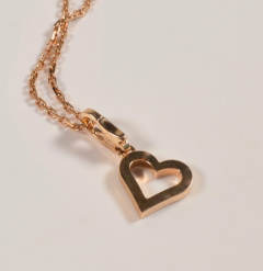 Cartier Cartier 18 Karat Pink Gold and Diamond Heart Pendant and Necklace 0 25 Carat - 964185