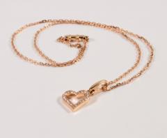 Cartier Cartier 18 Karat Pink Gold and Diamond Heart Pendant and Necklace 0 25 Carat - 964189