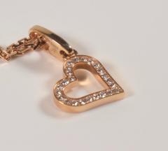 Cartier Cartier 18 Karat Pink Gold and Diamond Heart Pendant and Necklace 0 25 Carat - 964192