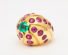 Cartier Cartier 18k Gold Emerald Ruby Ring - 296691
