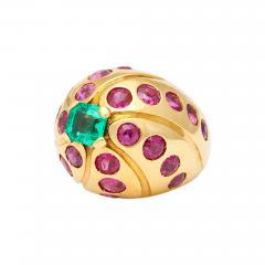 Cartier Cartier 18k Gold Emerald Ruby Ring - 297176