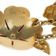 Cartier Cartier 1940s Gold and Enamel Flower Link Bracelet - 1219052