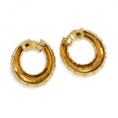Cartier Cartier 1960s Gold Scaled Hoop Earrings - 1002252