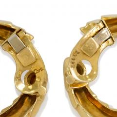 Cartier Cartier 1960s Gold Scaled Hoop Earrings - 1002253