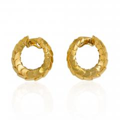 Cartier Cartier 1960s Gold Scaled Hoop Earrings - 1002643