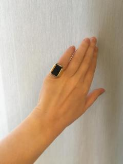 Cartier Cartier 1970s Gold Onyx and Diamond Plaque Ring - 1096079