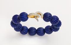Cartier Cartier Carved Lapis Bracelet with Diamond Clasp - 1367955