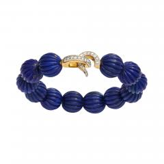 Cartier Cartier Carved Lapis Bracelet with Diamond Clasp - 1369428