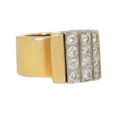 Cartier Cartier Estate Gold and Diamond Modernist Ring with Domed Top - 1861561