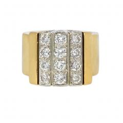 Cartier Cartier Estate Gold and Diamond Modernist Ring with Domed Top - 1861562
