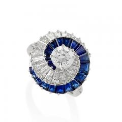 Cartier Cartier Mid 20th Century Diamond and Sapphire Swirl Ring - 664541