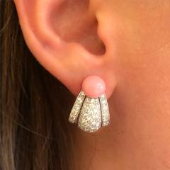 Cartier Cartier Paris Late 20th Century Diamond Conch Pearl and Platinum Earrings - 718087