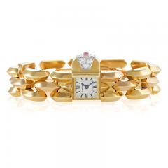 Cartier Cartier Paris Retro Diamond Ruby Pink Gold and Platinum Watch - 676109