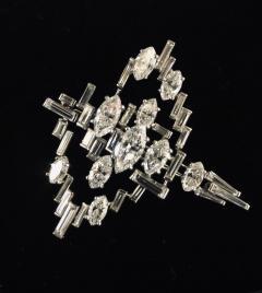 Cartier Cartier Signed Platinum Diamond Mid Century Comet Pin - 1788060