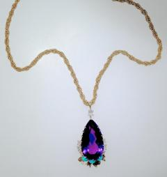 Cartier Cartier Vintage Gold Necklace with Amethyst Turquoise and Diamonds - 1141377