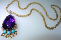 Cartier Cartier Vintage Gold Necklace with Amethyst Turquoise and Diamonds - 1141378