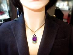 Cartier Cartier Vintage Gold Necklace with Amethyst Turquoise and Diamonds - 1141379