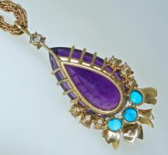 Cartier Cartier Vintage Gold Necklace with Amethyst Turquoise and Diamonds - 1141380