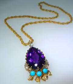 Cartier Cartier Vintage Gold Necklace with Amethyst Turquoise and Diamonds - 1141381