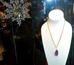 Cartier Cartier Vintage Gold Necklace with Amethyst Turquoise and Diamonds - 1141382