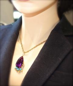 Cartier Cartier Vintage Gold Necklace with Amethyst Turquoise and Diamonds - 1141383