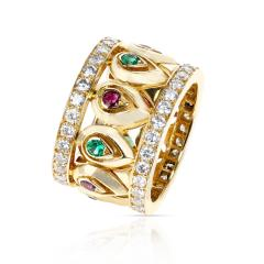 Cartier FRENCH CARTIER RUBY AND EMERALD WITH DOUBLE DIAMOND BORDER BAND - 2101182