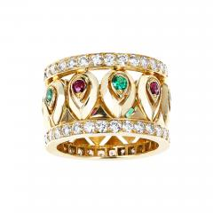 Cartier FRENCH CARTIER RUBY AND EMERALD WITH DOUBLE DIAMOND BORDER BAND - 2105919