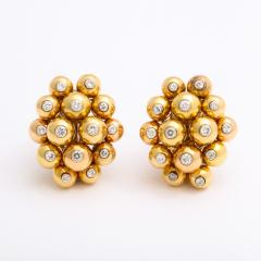 Cartier Gold and Diamond Cluster Earrings by Cartier - 1180318