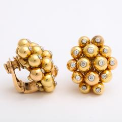 Cartier Gold and Diamond Cluster Earrings by Cartier - 1180319