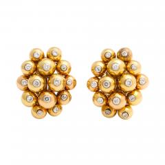 Cartier Gold and Diamond Cluster Earrings by Cartier - 1180857