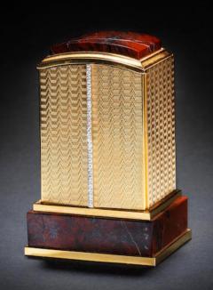 Cartier Piece Unique Large Cartier 1950s Hardstone Platinum Diamond Gold Shutter Clock - 439925