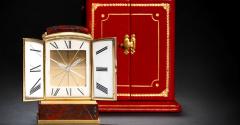 Cartier Piece Unique Large Cartier 1950s Hardstone Platinum Diamond Gold Shutter Clock - 439930