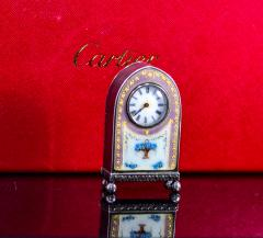 Cartier Rare 1900 1910 Cartier Enamel Forget Me Knot Motif Dome Clock - 1107726