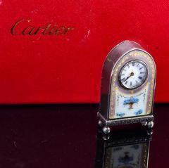 Cartier Rare 1900 1910 Cartier Enamel Forget Me Knot Motif Dome Clock - 1107728