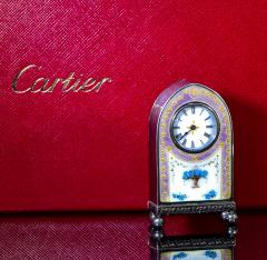 Cartier Rare 1900 1910 Cartier Enamel Forget Me Knot Motif Dome Clock - 1107731