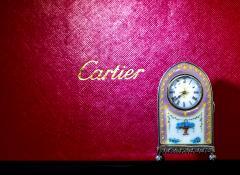 Cartier Rare 1900 1910 Cartier Enamel Forget Me Knot Motif Dome Clock - 1107732