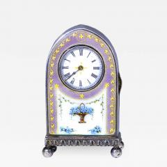 Cartier Rare 1900 1910 Cartier Enamel Forget Me Knot Motif Dome Clock - 1108330