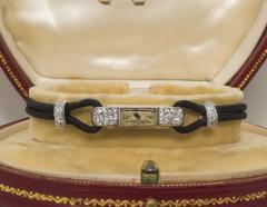 Cartier Rare 1920s Cartier Art Deco Platinum Pave Diamond Set Enamel Cord Cocktail Watch - 431644
