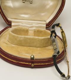 Cartier Rare 1920s Cartier Art Deco Platinum Pave Diamond Set Enamel Cord Cocktail Watch - 431648