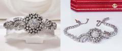 Cartier Rare 1940s 1950s Cartier Platinum Concealed Diamond Spray Motif Bracelet Watch - 1078903