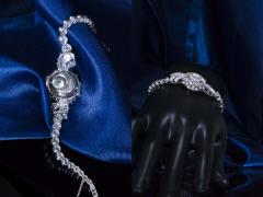 Cartier Rare 1940s 1950s Cartier Platinum Concealed Diamond Spray Motif Bracelet Watch - 1078905