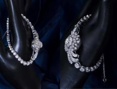 Cartier Rare 1940s 1950s Cartier Platinum Concealed Diamond Spray Motif Bracelet Watch - 1078907