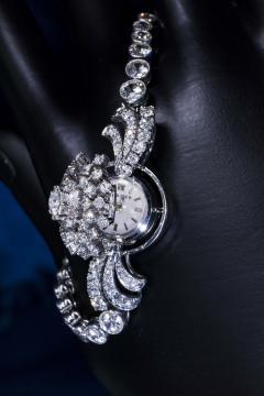 Cartier Rare 1940s 1950s Cartier Platinum Concealed Diamond Spray Motif Bracelet Watch - 1078909