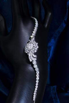 Cartier Rare 1940s 1950s Cartier Platinum Concealed Diamond Spray Motif Bracelet Watch - 1078917