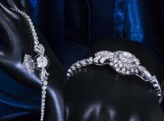 Cartier Rare 1940s 1950s Cartier Platinum Concealed Diamond Spray Motif Bracelet Watch - 1078918