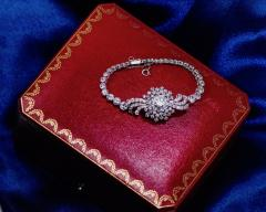 Cartier Rare 1940s 1950s Cartier Platinum Concealed Diamond Spray Motif Bracelet Watch - 1078939