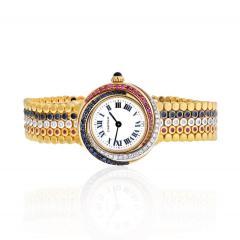 Cartier TRINITY 18K TRI COLOR 2357 SAPPHIRE RUBY AND DIAMOND LADIES WRIST WATCH - 1869916